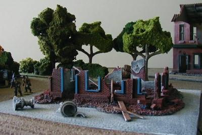 Destroyed Brick Building WWII war gaming terrain ruined buildings